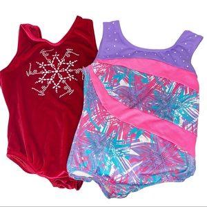 Bundle of 2 Girls Gymnastics Leotards Medium